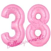 Zahl 38 Rosa, Luftballons aus Folie zum 38. Geburtstag, 100 cm, inklusive Helium