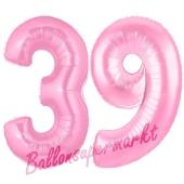Zahl 39 Rosa, Luftballons aus Folie zum 39. Geburtstag, 100 cm, inklusive Helium