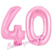 Zahl 40 Rosa, Luftballons aus Folie zum 40. Geburtstag, 100 cm, inklusive Helium