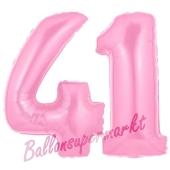 Zahl 41 Rosa, Luftballons aus Folie zum 41. Geburtstag, 100 cm, inklusive Helium