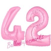 Zahl 42 Rosa, Luftballons aus Folie zum 42. Geburtstag, 100 cm, inklusive Helium