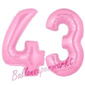 Zahl 43 Rosa, Luftballons aus Folie zum 43. Geburtstag, 100 cm, inklusive Helium