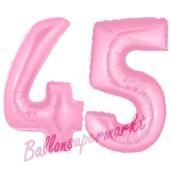 Zahl 45 Rosa, Luftballons aus Folie zum 45. Geburtstag, 100 cm, inklusive Helium