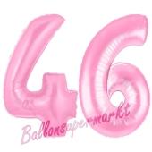 Zahl 46 Rosa, Luftballons aus Folie zum 46. Geburtstag, 100 cm, inklusive Helium