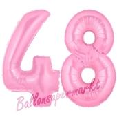 Zahl 48 Rosa, Luftballons aus Folie zum 48. Geburtstag, 100 cm, inklusive Helium