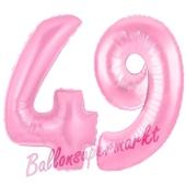 Zahl 49 Rosa, Luftballons aus Folie zum 49. Geburtstag, 100 cm, inklusive Helium