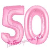 Zahl 50 Rosa, Luftballons aus Folie zum 50. Geburtstag, 100 cm, inklusive Helium