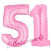 Zahl 51 Rosa, Luftballons aus Folie zum 51. Geburtstag, 100 cm, inklusive Helium