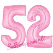 Zahl 52 Rosa, Luftballons aus Folie zum 52. Geburtstag, 100 cm, inklusive Helium