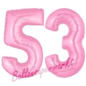 Zahl 53 Rosa, Luftballons aus Folie zum 53. Geburtstag, 100 cm, inklusive Helium