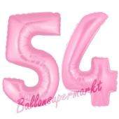 Zahl 54 Rosa, Luftballons aus Folie zum 54. Geburtstag, 100 cm, inklusive Helium