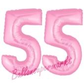 Zahl 55 Rosa, Luftballons aus Folie zum 55. Geburtstag, 100 cm, inklusive Helium