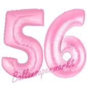 Zahl 56 Rosa, Luftballons aus Folie zum 56. Geburtstag, 100 cm, inklusive Helium