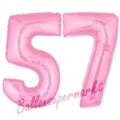 Zahl 57 Rosa, Luftballons aus Folie zum 57. Geburtstag, 100 cm, inklusive Helium