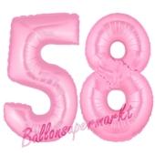 Zahl 58 Rosa, Luftballons aus Folie zum 58. Geburtstag, 100 cm, inklusive Helium