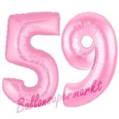 Zahl 59 Rosa, Luftballons aus Folie zum 59. Geburtstag, 100 cm, inklusive Helium