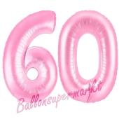 Zahl 60 Rosa, Luftballons aus Folie zum 60. Geburtstag, 100 cm, inklusive Helium