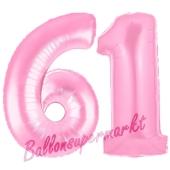 Zahl 61 Rosa, Luftballons aus Folie zum 61. Geburtstag, 100 cm, inklusive Helium