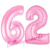 Zahl 62 Rosa, Luftballons aus Folie zum 62. Geburtstag, 100 cm, inklusive Helium