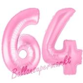 Zahl 64 Rosa, Luftballons aus Folie zum 64. Geburtstag, 100 cm, inklusive Helium