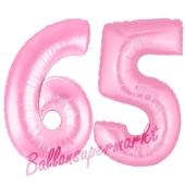 Zahl 65 Rosa, Luftballons aus Folie zum 65. Geburtstag, 100 cm, inklusive Helium