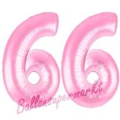 Zahl 66 Rosa, Luftballons aus Folie zum 66. Geburtstag, 100 cm, inklusive Helium