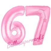 Zahl 67 Rosa, Luftballons aus Folie zum 67. Geburtstag, 100 cm, inklusive Helium