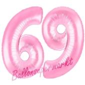 Zahl 69 Rosa, Luftballons aus Folie zum 69. Geburtstag, 100 cm, inklusive Helium