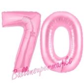 Zahl 70 Rosa, Luftballons aus Folie zum 70. Geburtstag, 100 cm, inklusive Helium