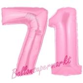 Zahl 71 Rosa, Luftballons aus Folie zum 71. Geburtstag, 100 cm, inklusive Helium