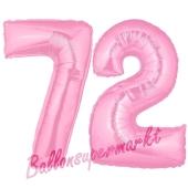 Zahl 72 Rosa, Luftballons aus Folie zum 72. Geburtstag, 100 cm, inklusive Helium