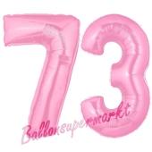 Zahl 73 Rosa, Luftballons aus Folie zum 73. Geburtstag, 100 cm, inklusive Helium