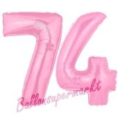 Zahl 74 Rosa, Luftballons aus Folie zum 74. Geburtstag, 100 cm, inklusive Helium