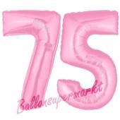 Zahl 75 Rosa, Luftballons aus Folie zum 75. Geburtstag, 100 cm, inklusive Helium