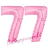Zahl 77 Rosa Luftballons aus Folie zum 77. Geburtstag, 100 cm, inklusive Helium