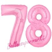 Zahl 78 Rosa Luftballons aus Folie zum 78. Geburtstag, 100 cm, inklusive Helium