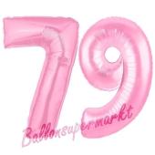 Zahl 79 Rosa Luftballons aus Folie zum 79. Geburtstag, 100 cm, inklusive Helium