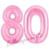 Zahl 80 Rosa, Luftballons aus Folie zum 80. Geburtstag, 100 cm, inklusive Helium