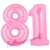 Zahl 81 Rosa, Luftballons aus Folie zum 81. Geburtstag, 100 cm, inklusive Helium