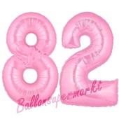 Zahl 82 Rosa, Luftballons aus Folie zum 82. Geburtstag, 100 cm, inklusive Helium