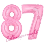 Zahl 87 Rosa, Luftballons aus Folie zum 87. Geburtstag, 100 cm, inklusive Helium