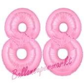Zahl 88 Rosa, Luftballons aus Folie zum 88. Geburtstag, 100 cm, inklusive Helium
