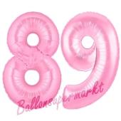 Zahl 89 Rosa, Luftballons aus Folie zum 89. Geburtstag, 100 cm, inklusive Helium