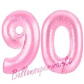 Zahl 90 Rosa, Luftballons aus Folie zum 90. Geburtstag, 100 cm, inklusive Helium