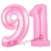 Zahl 91 Rosa, Luftballons aus Folie zum 91. Geburtstag, 100 cm, inklusive Helium