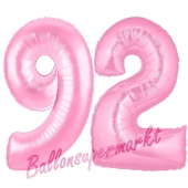 Zahl 92 Rosa, Luftballons aus Folie zum 92. Geburtstag, 100 cm, inklusive Helium