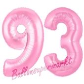 Zahl 93 Rosa, Luftballons aus Folie zum 93. Geburtstag, 100 cm, inklusive Helium
