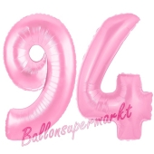 Zahl 94 Rosa, Luftballons aus Folie zum 94. Geburtstag, 100 cm, inklusive Helium