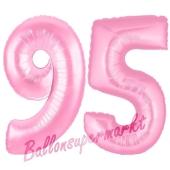 Zahl 95 Rosa, Luftballons aus Folie zum 95. Geburtstag, 100 cm, inklusive Helium