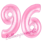 Zahl 96 Rosa, Luftballons aus Folie zum 96. Geburtstag, 100 cm, inklusive Helium